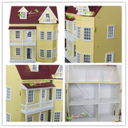 1:12 Miniature Mansion Wood Dollhouse Kit 7 Rooms 60*72*40cm -Ship to W