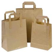 Buy Brown Paper Bags with Flat Handle from Pico Bags